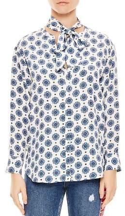 Sandro Boneta Printed Silk-Front Shirt
