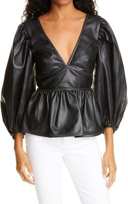 STAUD Luna Faux Leather Blouse