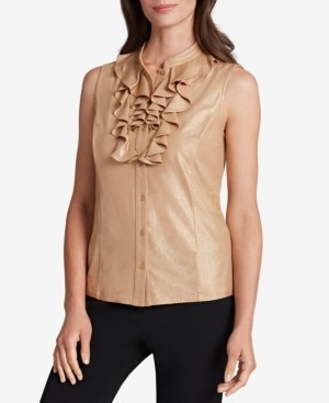 Tahari ASL Ruffled Sleeveless Blouse