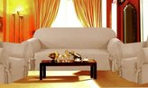 Grand Linen SOLID SUEDE Couch Covers 3 Piece BEIGE / TAN / KHAKI color slipcover Set = Sofa + Loveseat + Chair