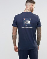 The North Face T-Shirt With Red Box Logo In Navy
