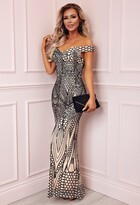 Pink Boutique Limited Edition Avella Black and Nude Sequin Bardot Maxi Dress