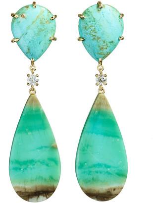 Jan Leslie 18k Bespoke 2-Tier Tribal Luxury Earrings w/ Turquoise, Blue Opal Petrified Wood & Diamonds