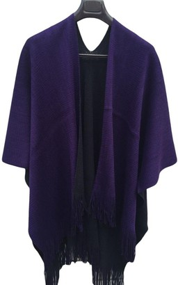 Saingace 1PC Women Winter Keep Warm Knitted Cashmere Poncho Capes Double Side Cloak Bohemian Shawl Cardigans Coat (Purple)