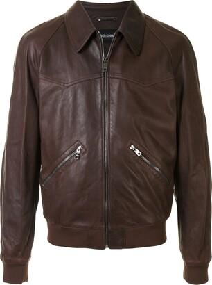 Dolce & Gabbana Collared Lambskin Bomber Jacket