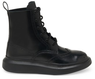 Alexander McQueen Brogue Wingtip Leather Platform Combat Boots