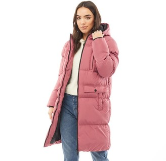 Brave Soul Womens Hollie Long Length Padded Jacket Rosewood