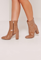 Missguided Patent Heeled Ankle Boots Tan