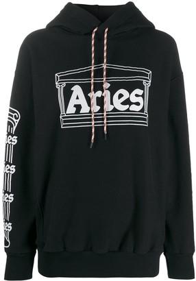 Aries Temple Logo Print Hoodie