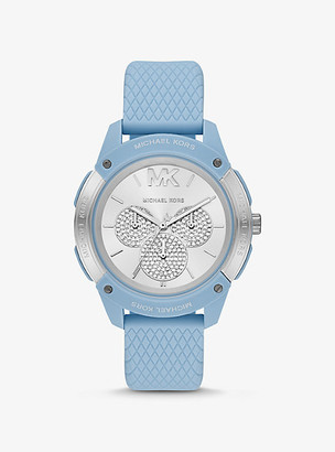 Michael Kors Oversized Ryder Embossed Silicone and Blue-Tone Watch