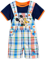 Nannette 2-Pc. T-Shirt & Mickey Mouse Plaid Overall Set, Baby Boys (0-24 months)