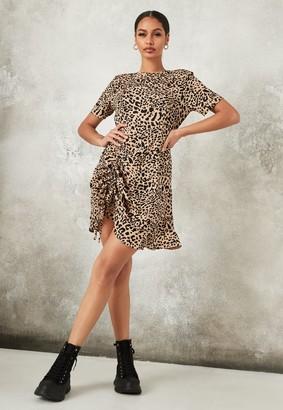 Missguided Stone Animal Print Ruched Split Tea Dress