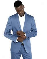 Express photographer cotton sateen blue suit jacket