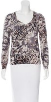 Blumarine Embellished Abstract Print Cardigan