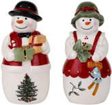 Spode Christmas Tree Mr. & Mrs. Snowman Salt and Pepper Shaker Set