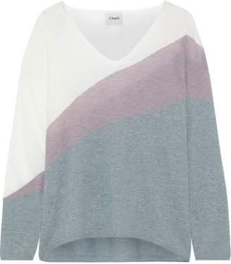 Charli Lavender Color-block Intarsia-knit Sweater