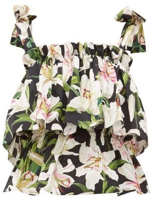 Dolce & Gabbana Lilum-print Cotton-poplin Top - Black Print