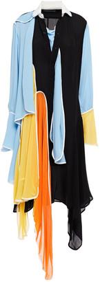 J.W.Anderson Draped Color-block Silk-crepe Shirt Dress