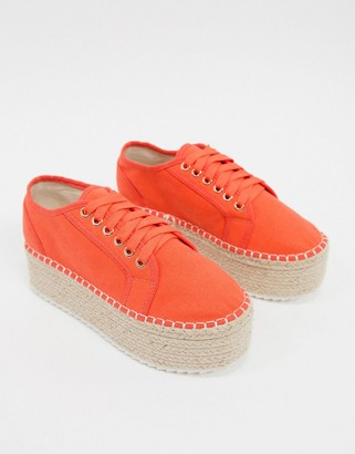 ASOS DESIGN Journal flatform espadrilles trainers in coral
