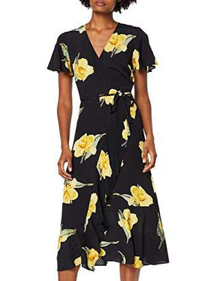 Warehouse Women's Katy Floral Midi Dress, (Black Print 76), (Size:)