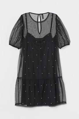 H&M Beaded Mesh Dress - Black