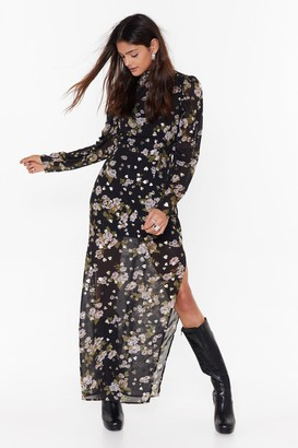 Nasty Gal Womens Garden of Eden Floral Maxi Dress - Black - 6