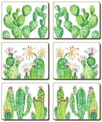 Cinnamon Cacti Garden 6 Piece Cork Coasters Set 11 x 9.5cm