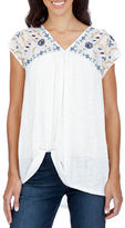 Lucky Brand Embroidered V-Neck Cap Sleeve Top