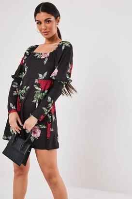 Missguided Black Floral Milkmaid A Line Mini Dress