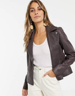 Y.A.S leather jacket in chocolate-Brown