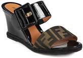 Fendi Vernis Zucca Logo Canvas & Patent Leather Wedge Slides