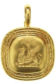 Elizabeth Locke Hammered 19K Yellow Gold Griffin & Palm Pendant