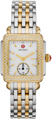 Michele Deco Mid Two-Tone Diamond Bracelet Watch