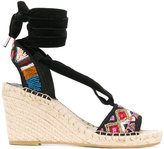 Ash Paola wedge sandals - women - Cotton/Straw/rubber - 36
