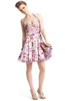 Aqua Retro Floral Print Halter Dress