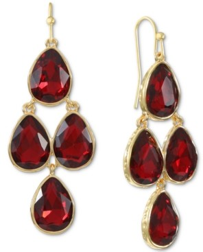 Style&Co. Style & Co Gold-Tone Teardrop Stone Chandelier Drop Earrings, Created for Macy's