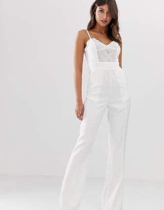 Paper Dolls wide leg jumpsuit with lace-White