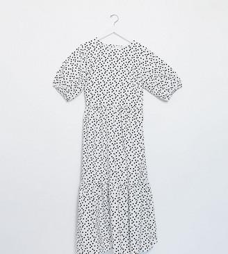 ASOS DESIGN Curve tiered cotton poplin smock midi dress in white and black spot