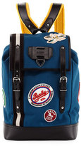 Bally Alpina Men's Canvas Backpack with Patches, Slate