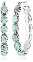 Lucky Brand Silver-Tone and Faux Turquoise Hoop Earrings