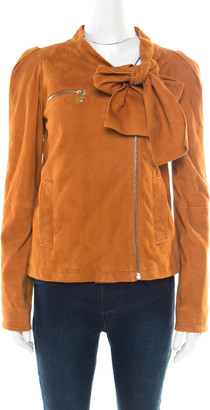 Mulberry Tan Brown Suede Floppy Bow Detail Biker Jacket S