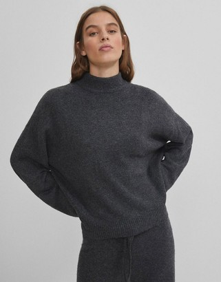 Bershka roll neck jumper co-ord in dark grey