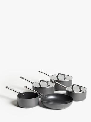 John Lewis & Partners Hard Anodised Aluminium Non-Stick Saucepan/Frying Pan Set, 5 Pieces
