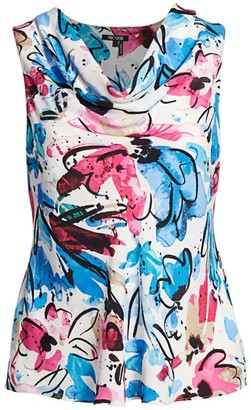 Nic + Zoe, Plus Size Vibrant Floral Cowlneck Top