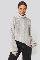 NA-KD Donnaromina X Chunky Cable Knit Sweater Grey