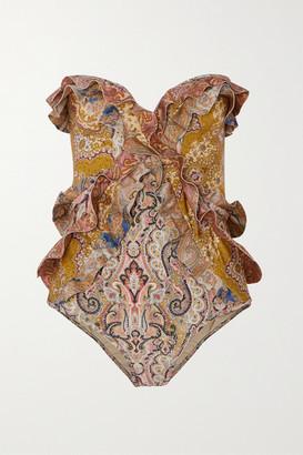 Zimmermann Freja Ruffled Paisley-print Bandeau Swimsuit - Brown