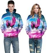 Snlydtan Pockets 3D Vivid Rainbow Unicorn Hood Sweatshirt Clothing S/M