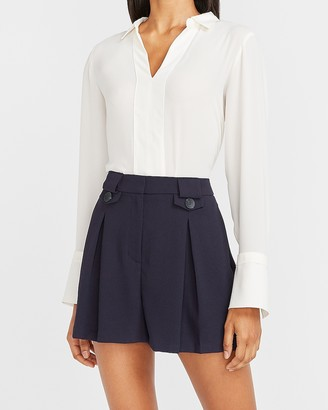 Express Super High Waisted Button Flap Pleated Shorts