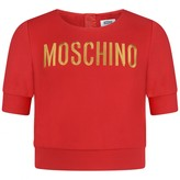 Moschino MoschinoGirls Red Embroidered Logo Cropped Top