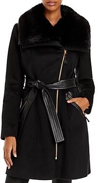 Via Spiga Kate Belted Faux Fur Trim Coat